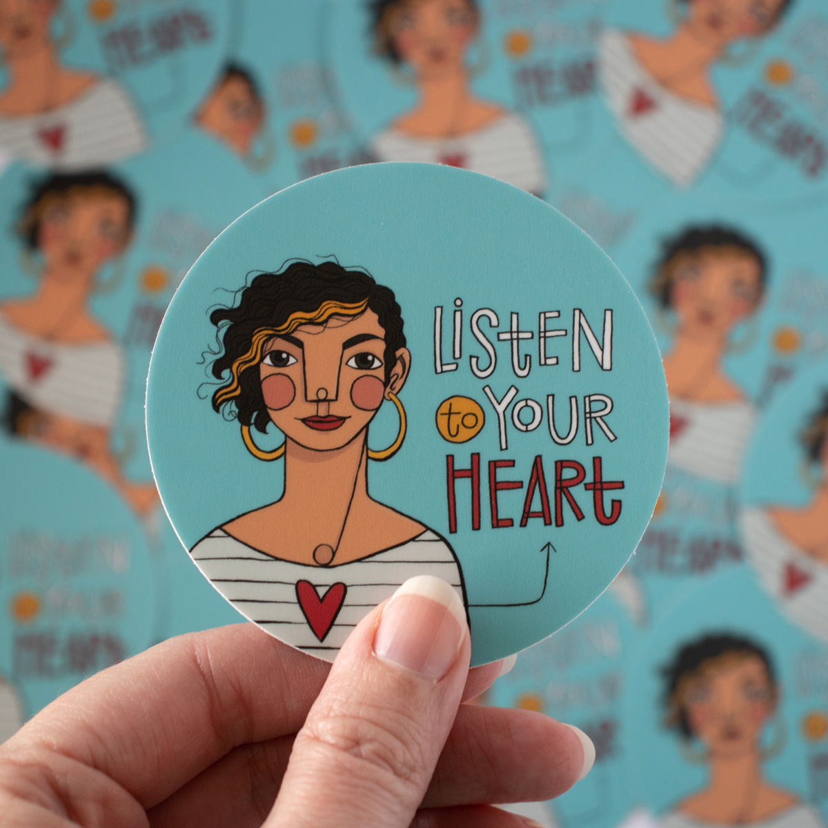 Listen To Your Heart circle stickers by Kim Bonner